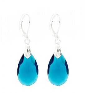 Dark Blue Teardrop Crystal Earrings - Secure Lever Backings